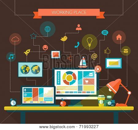 Illustration of flat design composition with work place
