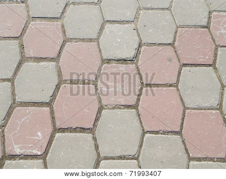 Path Of Hexagonal Colored Concrete