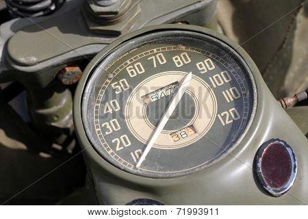 Old Army motorcycle meter