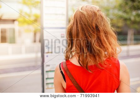 Woman Looking At Bus Timetable