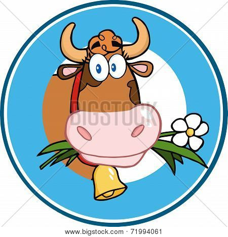 Cartoon Circle Label With Cow