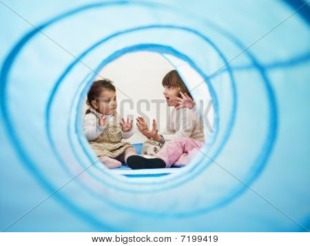 Little Girls Singing In Kindergarten