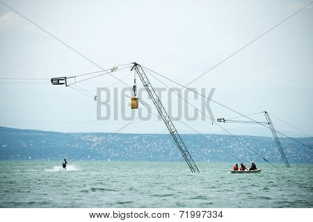 Water ski at Balaton Lake, Hungary, Europe