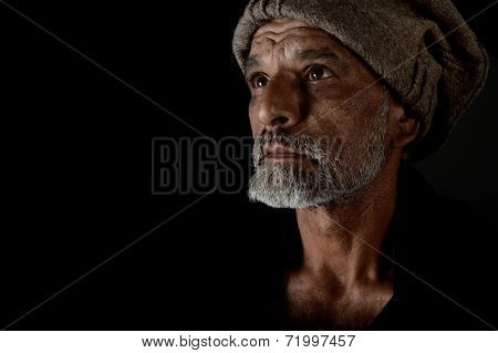 very Nice portrait of a afghan man on Black