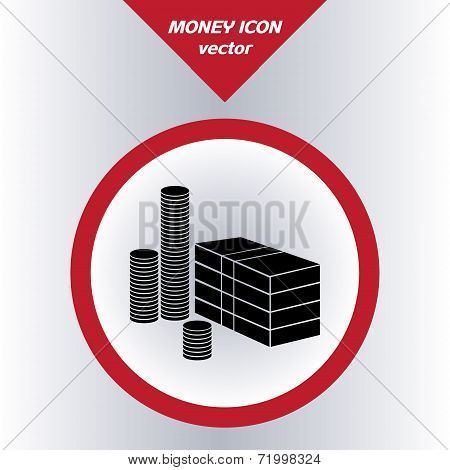 Money icon with paper banknotes and coins vector.