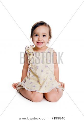 Cute Little Girl Sit On The Floor