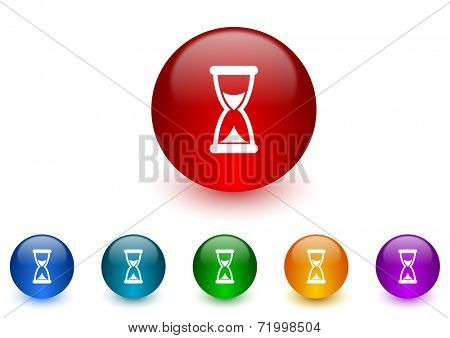 time internet icons colorful set