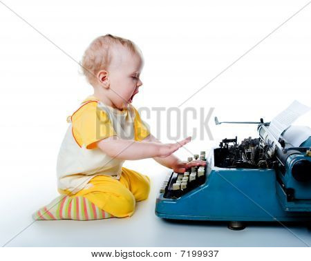 Little Boy With The Old Typewriter
