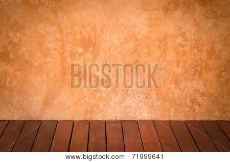 Brown Plaster Walls And Wooden Floors