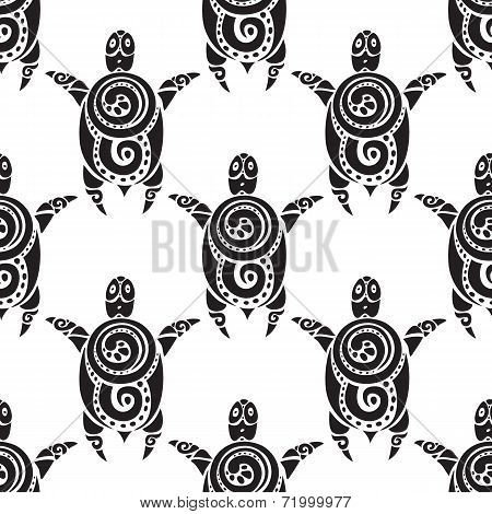 Turtles.  Seamless Vector pattern.
