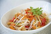 picture of green papaya salad  - Famous spicy papaya salad of Thai dish - JPG