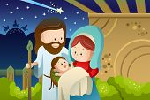 picture of mary  - A vector illustration of Joseph Mary and baby Jesus for nativity concept - JPG