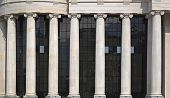 stock photo of ionic  - White marble columns in classic Ionic order - JPG