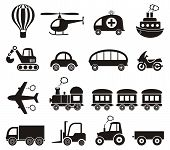 picture of railroad car  - Set of cute black vector transport icons isolated - JPG