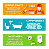 stock photo of plumbing  - Plumbing service fixtures water supply icons horizontal banners set isolated vector illustration - JPG