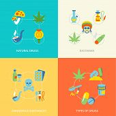 stock photo of rastaman  - Natural drugs dangerous substances flat set isolated vector illustration - JPG