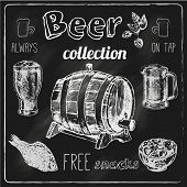 stock photo of wheat-free  - Always free salted snacks tap beer bar chalk blackboard advertisement icons collection sketch vector isolated illustration - JPG