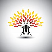 stock photo of sustainable development  - happy joyous people as trees of life  - JPG