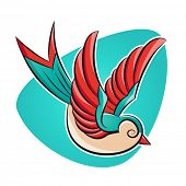 picture of swallow  - swallow in tattoo style - JPG