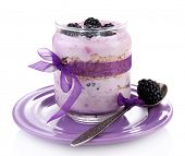 stock photo of blackberries  - Healthy breakfast  - JPG