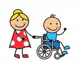 stock photo of wheelchair  - Cartoon man in a wheelchair and a woman wheelchair wheels - JPG