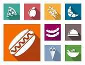 stock photo of hot fresh pizza  - Flat colorful food icons set  with pizza apple sausage croissant hot dog barbeque ice cream and soup - JPG