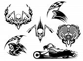 stock photo of reaper  - Set of motor racing skulls in black and white designs with a grim reaper holding a checkered flag - JPG