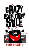 image of friday  - Crazy black friday sale design with shopping bags - JPG