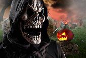 stock photo of grim-reaper  - Grim reaper on a dark background - JPG