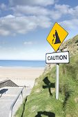 picture of landslide  - caution loose rocks or landslide sign in Ballybunion beach county Kerry Irelands wild atlantic way - JPG