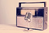 image of microphone  - Vintage microphone and radio on table - JPG