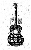 picture of guitar  - Illustration of vector vintage grunge label with guitar - JPG