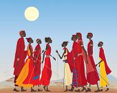 stock photo of arid  - an illustration of a group of masai men and women in traditional clothing in an arid african landscape - JPG