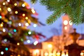 picture of manor  - a unfocused christmas background with colored lights - JPG