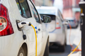image of electric station  - Power supply for electric car charging - JPG