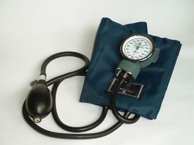 picture of medical equipment  - A manual blood pressure monitor - JPG