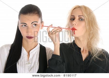 Woman Sucks Blood From An Ear Other Woman
