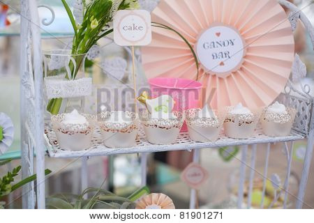 Dessert table for birthday or wedding