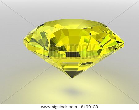 Yellow Diamond Rendered With Soft Shadows