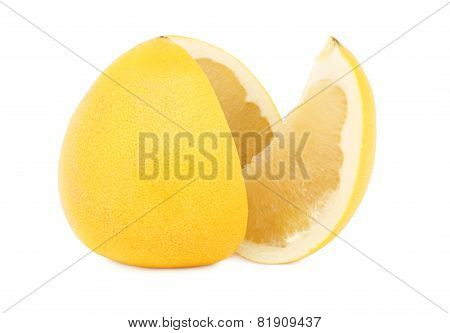 Sliced Ripe Pomelo (isolated)