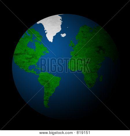 Textured Planet Earth - Black Bg