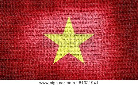 Vietnam flag on burlap fabric