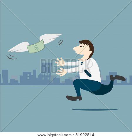 Business Man Running Follow The Money