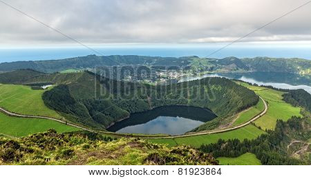 Beautiful View Of The Crater Of The Volcano Is Covered By Forests