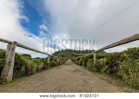Footpath With Railing In Mountains
