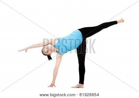 Yoga Female In Asana Ardha Chandrasana