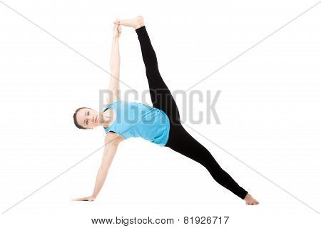 Yogi Female In Yoga Asana Vasisthasana