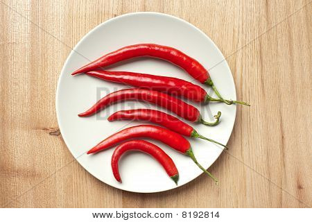 Red Chili Peppers On Table