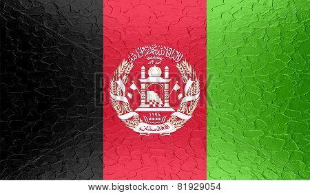 Afghanistan flag on metallic metal texture