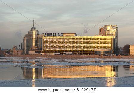 Saint-Petersburg. Russia. Samsung logo on the Hotel Saint-Petersburg